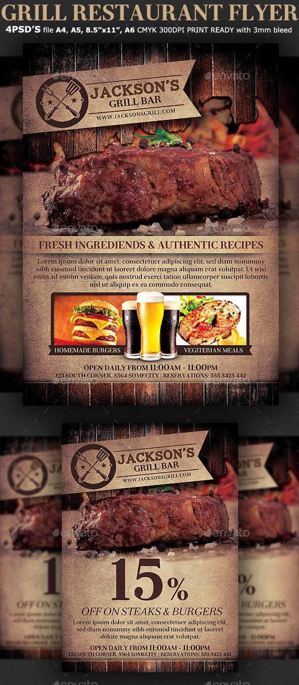 Grill Restaurant Promotion Flyer Template - Restaurant Flyers