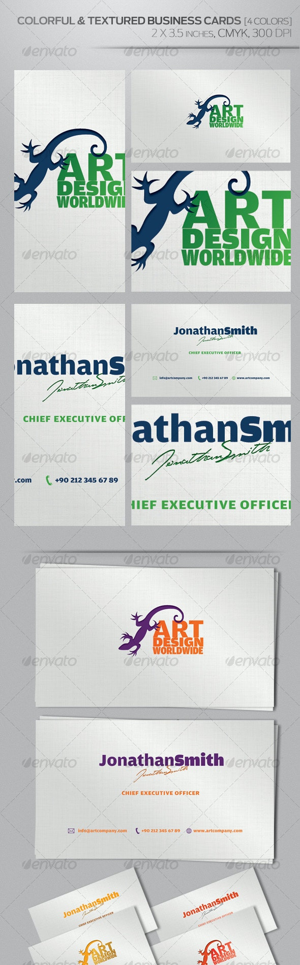 Colorful & Textured Business Cards [4 Colours] - Creative Business Cards