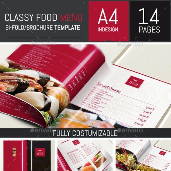 Classy Food Menu Brochure Template