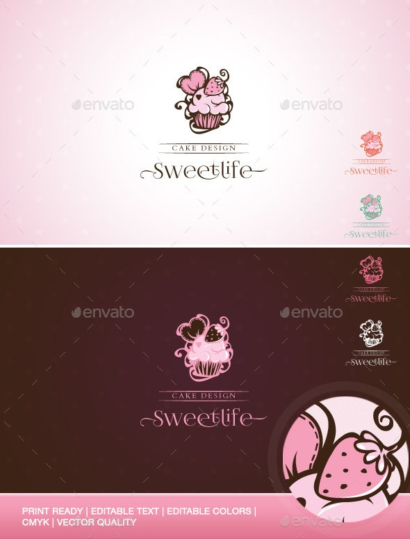 Sweetlife - Cup Cake Design Illustration Logo Template - Food Logo Templates