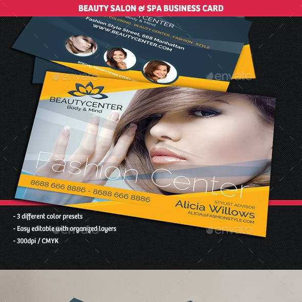 Beauty Center & Spa Business Cards