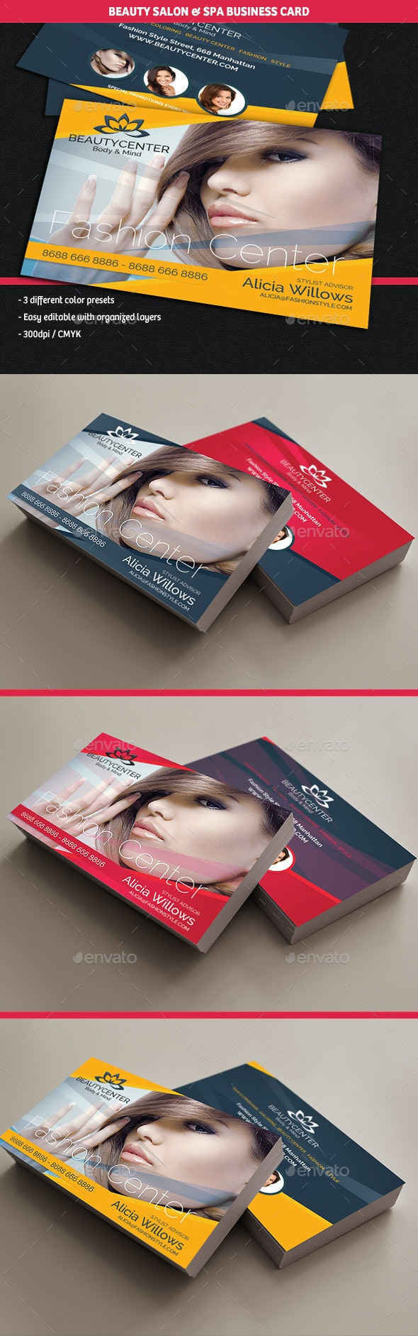 Beauty Center & Spa Business Cards - Business Cards Print Templates