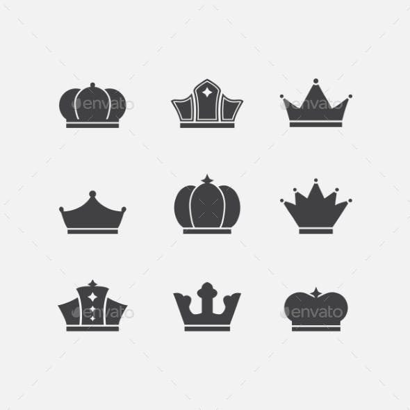 Vector icons set of different  black crowns shapes