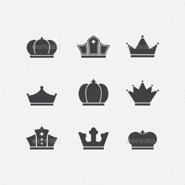 Vector icons set of different  black crowns shapes - Decorative Symbols Decorative