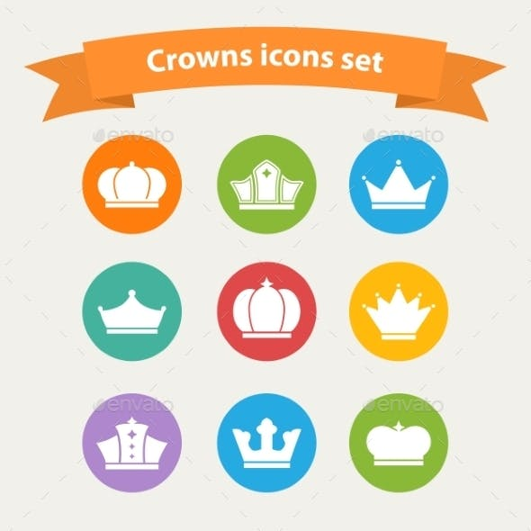 Vector icons set of different  white crowns shapes