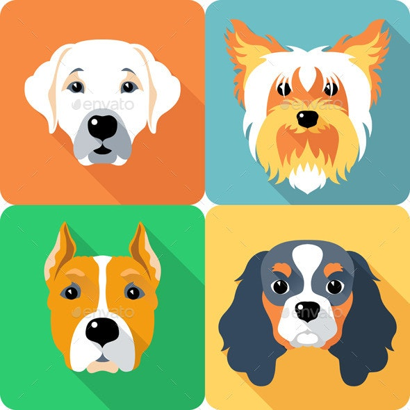 Vector set Dogs Icon Flat Design  - Animals Characters