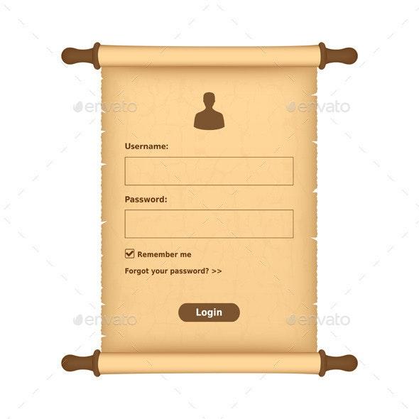 Parchment Login Form - Web Elements Vectors