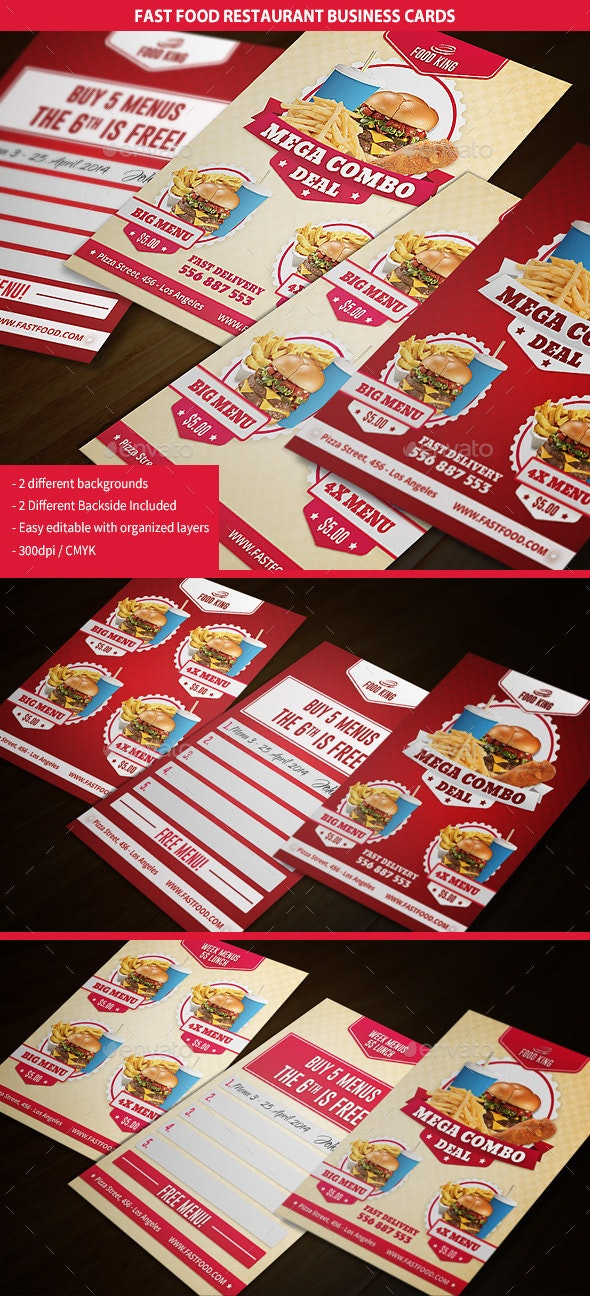 Restaurant Fast Food Business Cards - Business Cards Print Templates