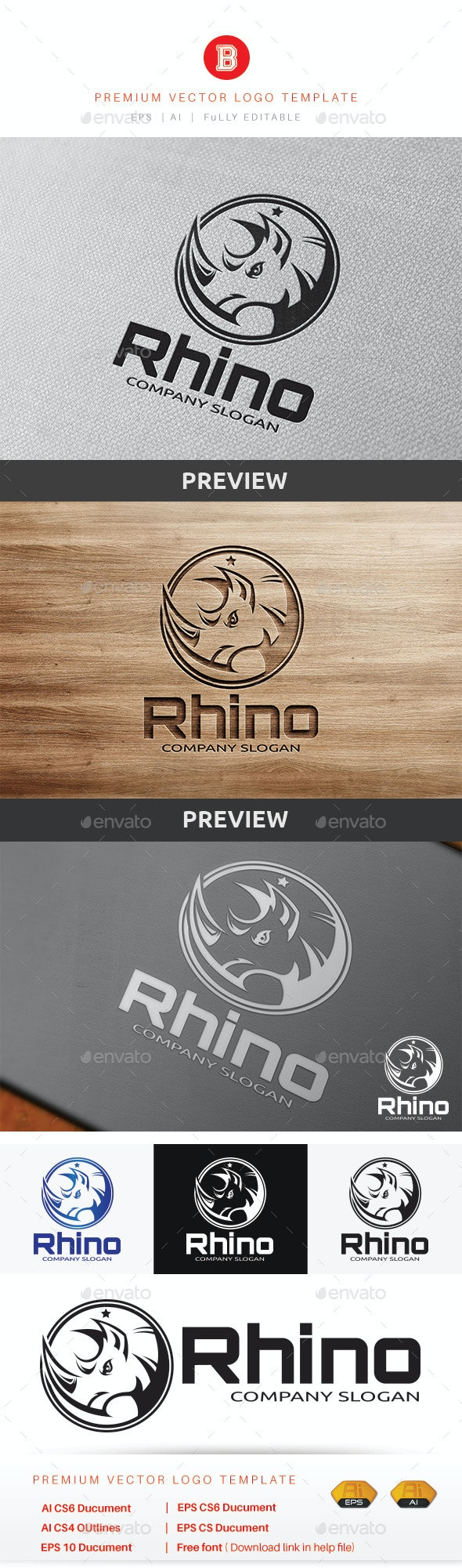 Rhino Logo - Animals Logo Templates