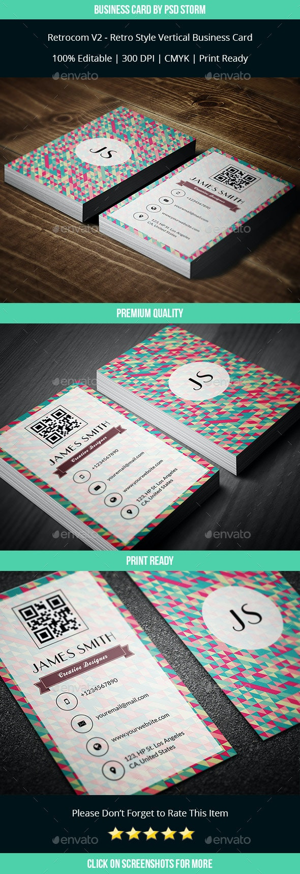 Retrocom V2 - Retro Style Vertical Business Card - Retro/Vintage Business Cards