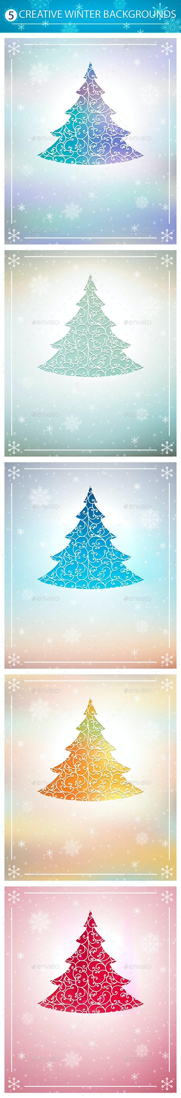 Winter Backgrounds Set - New Year Seasons/Holidays