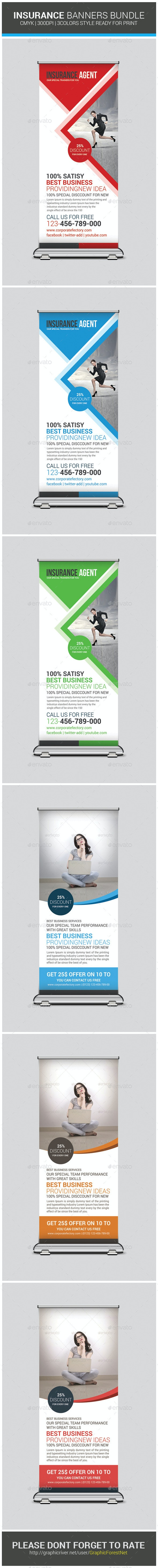 Insurance Business Banners Bundle Template - Signage Print Templates