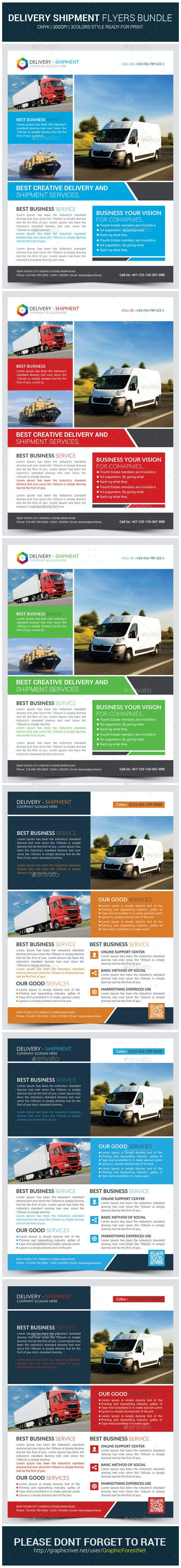 Delivery and Shipment Flyers Bundle Template  - Corporate Flyers