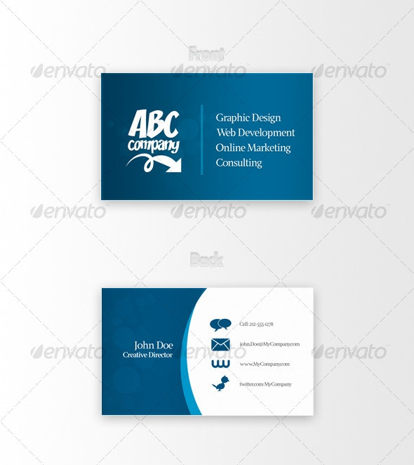 Clean Blue Business Card - Corporate Business Cards