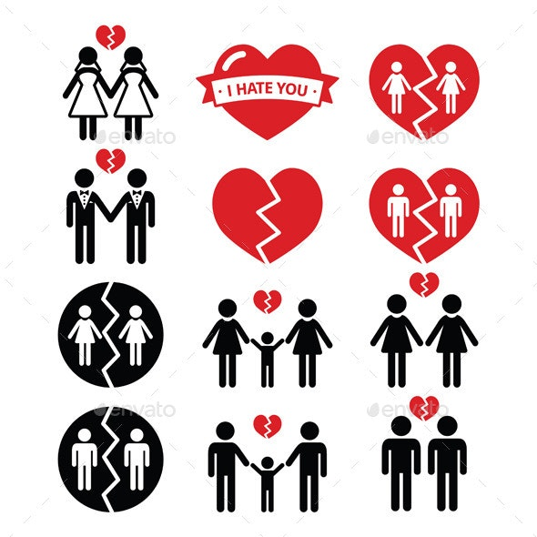 Gay or Lesbian Couple Breakup, Divorce Symbols - People Characters