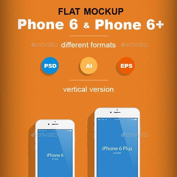 Flat Phone 6 & Phone 6+ Mockup