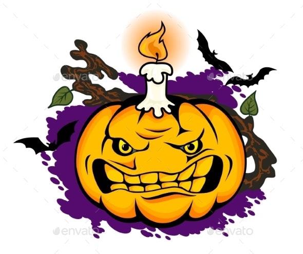 Angry Halloween Pumpkin - Halloween Seasons/Holidays