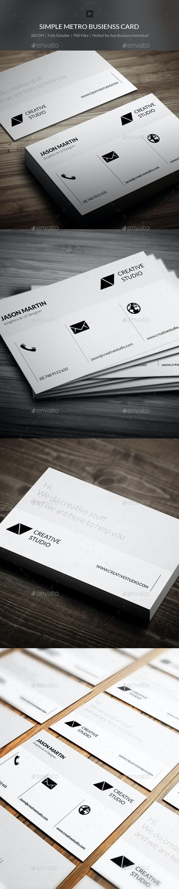 Simple Metro Business Card - 31 - Corporate Business Cards