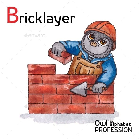 Alphabet Professions Owl Letter B - Bricklayer