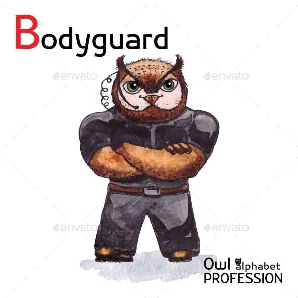 Alphabet Professions Owl Letter B - Bodyguard