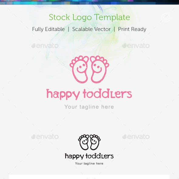 Happy Toddlers Stock Logo Template