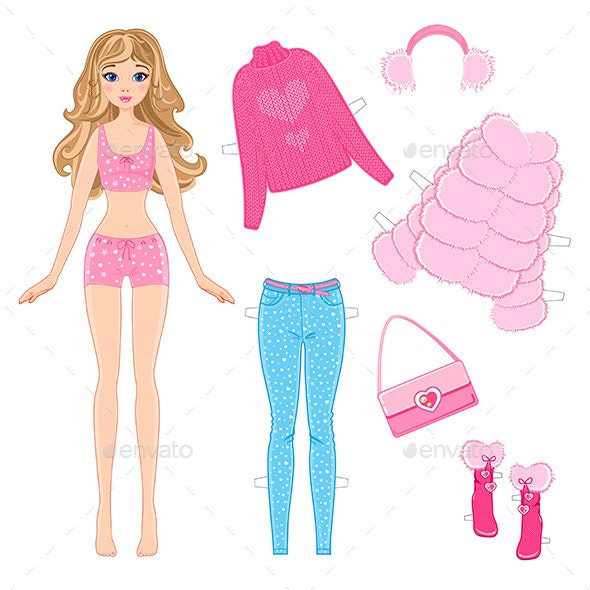 Paper Doll with Clothes - Characters Vectors