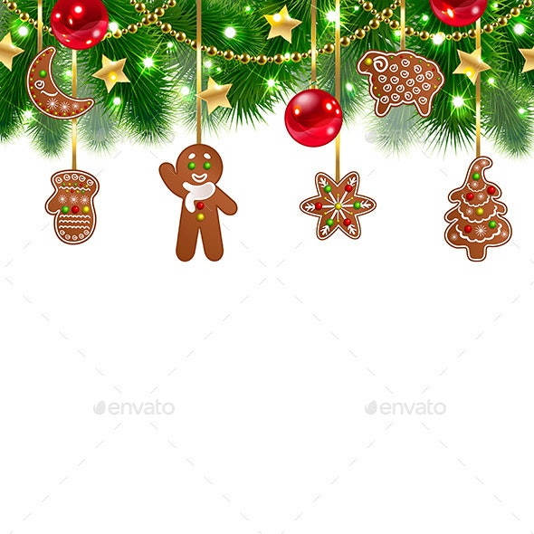 Christmas Background with Gingerbreads - Christmas Seasons/Holidays
