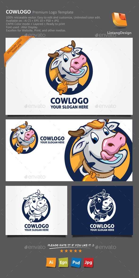 Cow Cartoon Logo - Animals Logo Templates