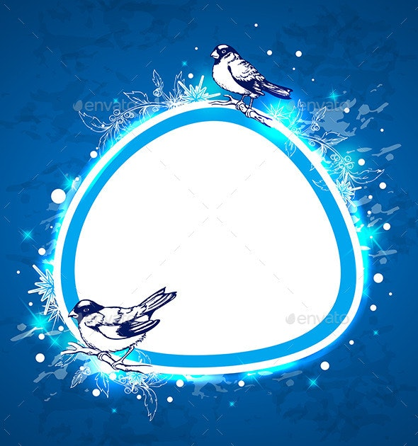 Blue Christmas Background with Birds - Christmas Seasons/Holidays