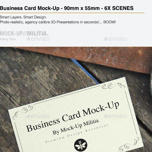 Business Card Mock-Up   Vintage Rustic 90mm x 55mm