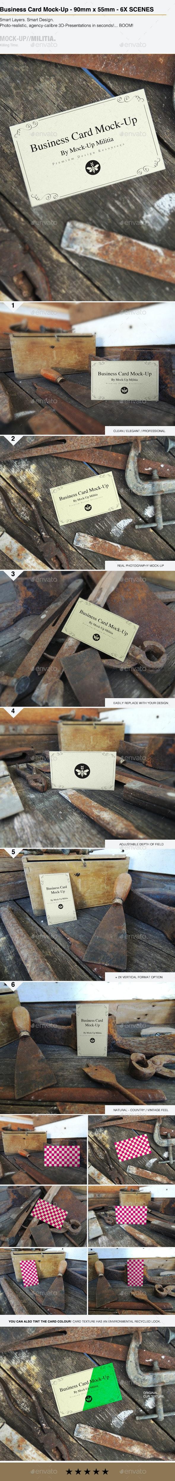 Business Card Mock-Up | Vintage Rustic 90mm x 55mm - Business Cards Print