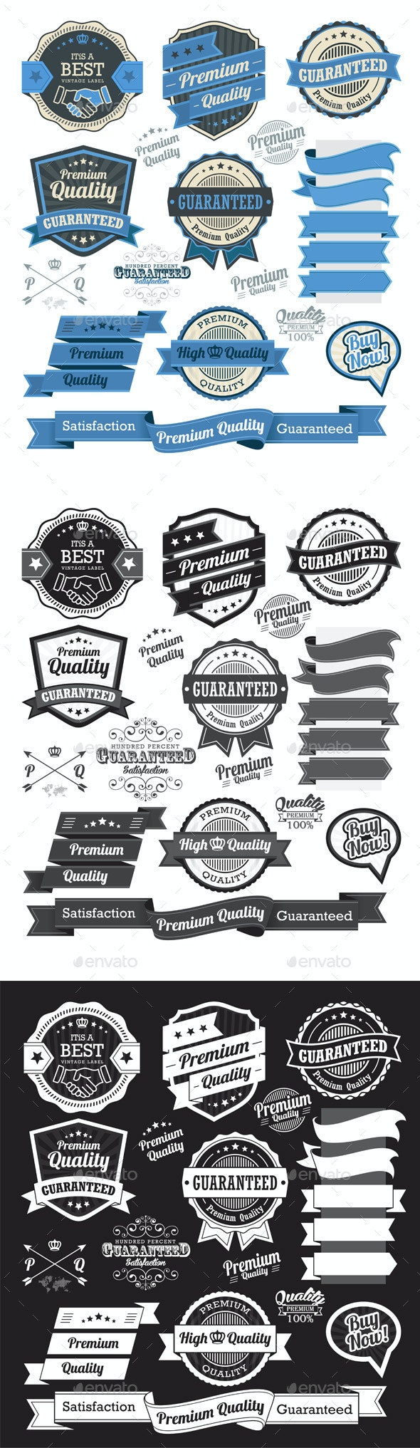 Set of Vintage Badges and Design Elements  - Decorative Symbols Decorative