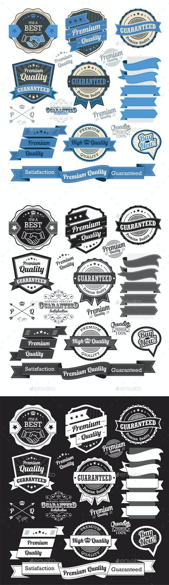 Set of Vintage Badges and Design Elements  - Decorative Symbols Decorative