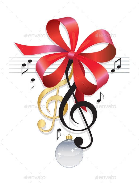 Treble Clef Festive Music Background - Decorative Symbols Decorative