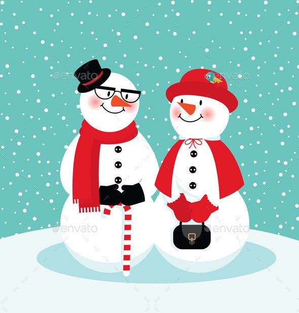 Couple of Snowmen - Christmas Seasons/Holidays