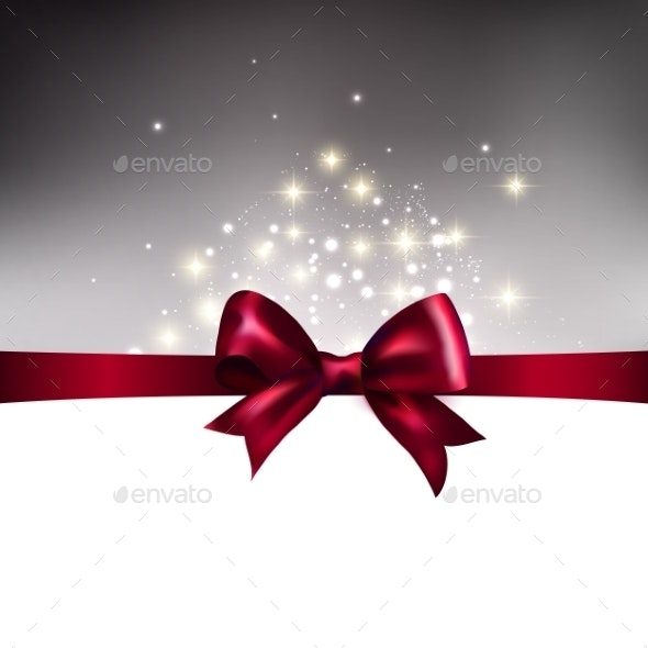 Abstract Christmas Llight Background with Ribbon - Christmas Seasons/Holidays