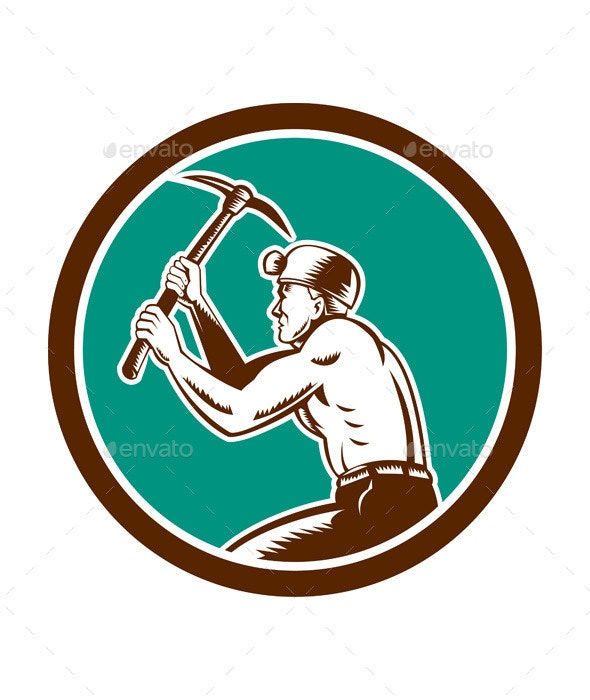 Coal Miner with Pick Axe  - People Characters