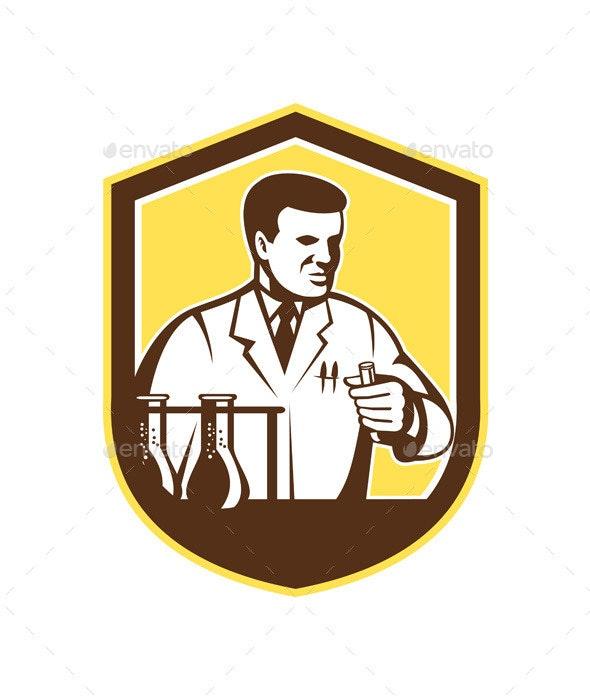 Scientist Lab Researcher Chemist Shield - Health/Medicine Conceptual