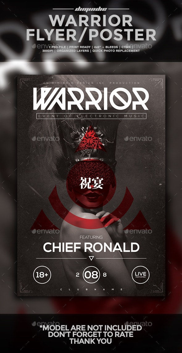 Warrior Flyer Template - Clubs & Parties Events