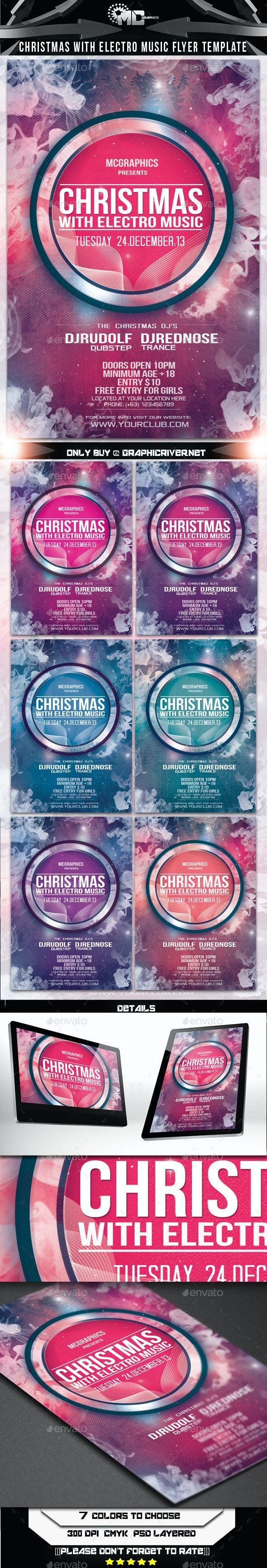 Christmas With Electro Music Flyer Template - Events Flyers