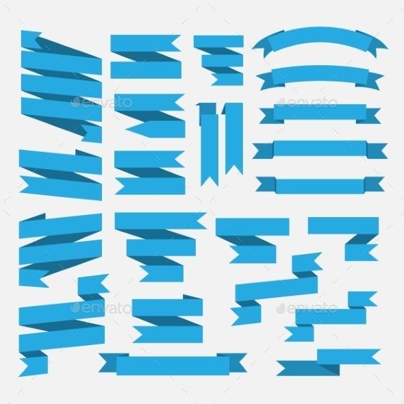 Blue Ribbons Set  - Decorative Symbols Decorative