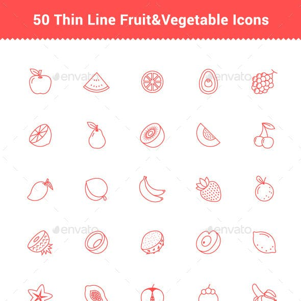 50 Thin Line Stroke Fruit and Vegetable Icons