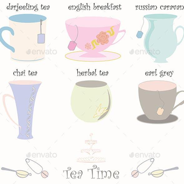 Tea Cup Collection Vector