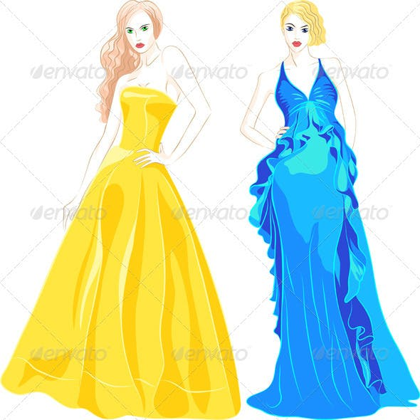Set of Fashion Top Model in a Evening Dresses