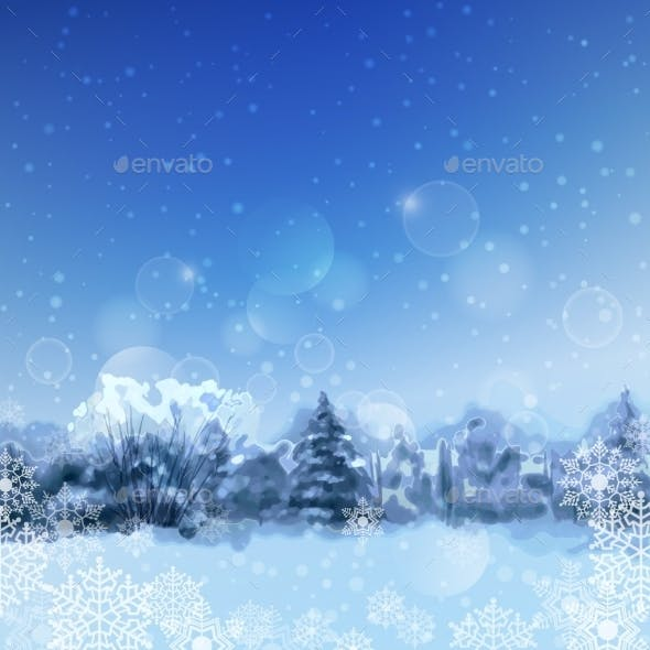 Vector Watercolor Snowy Forest