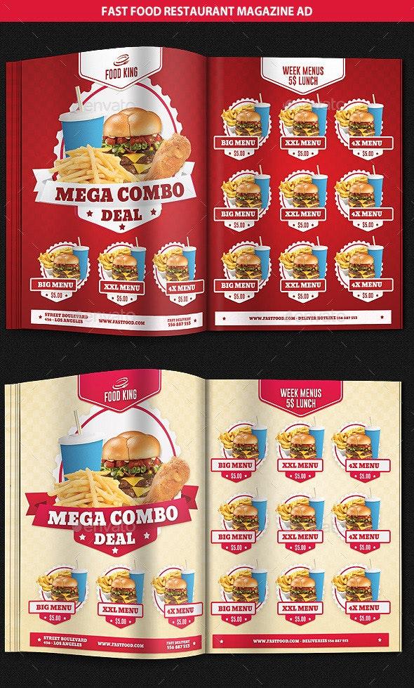 Restaurant Fast Food Menu Magazine Ad - Magazines Print Templates
