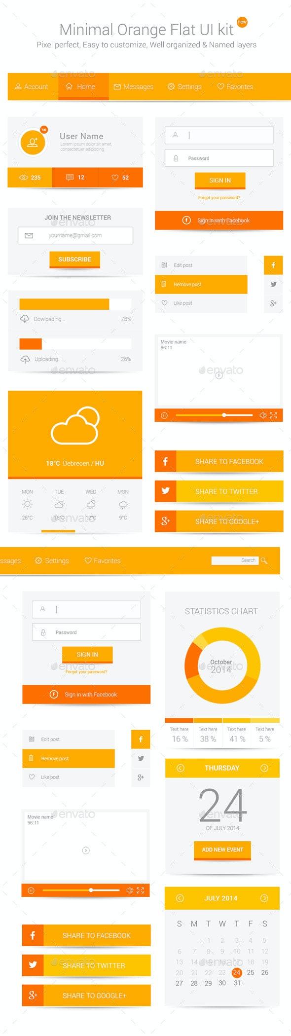 Minimal Orange Flat UI kit - User Interfaces Web Elements