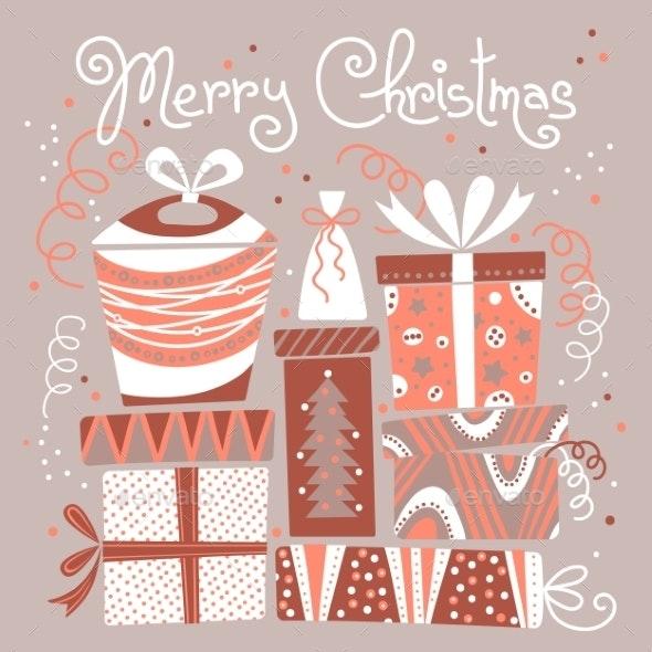 Christmas Card with Gift Boxes. - Christmas Seasons/Holidays