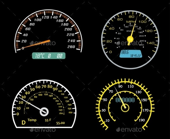 Speedometers Dials Set - Technology Conceptual