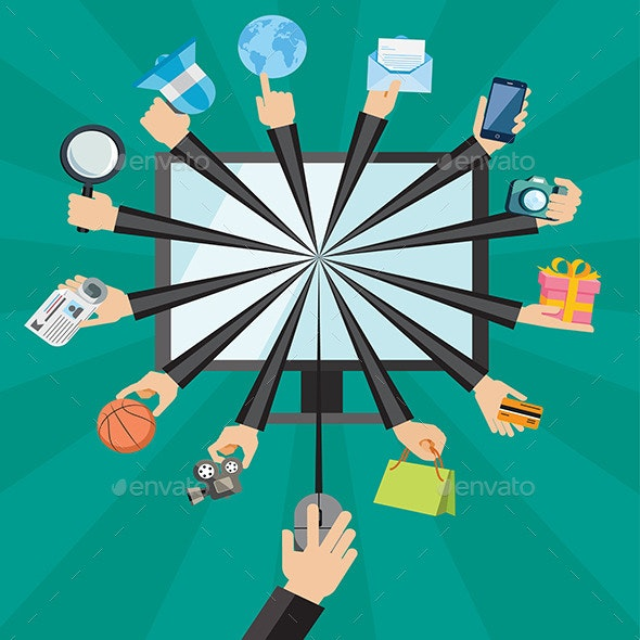 Hands with Shopping and Business Elements - Commercial / Shopping Conceptual
